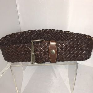 Fendissime Wide Brown Woven Leather Belt